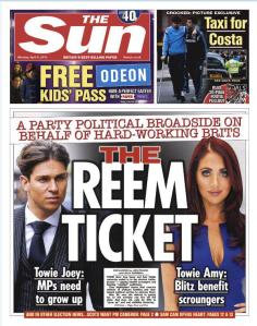 Sun front page TOWIE