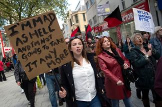 Charlotte Church and her mum Maria at an anti-austerity protest in Cardiff. From Mirror.co.uk