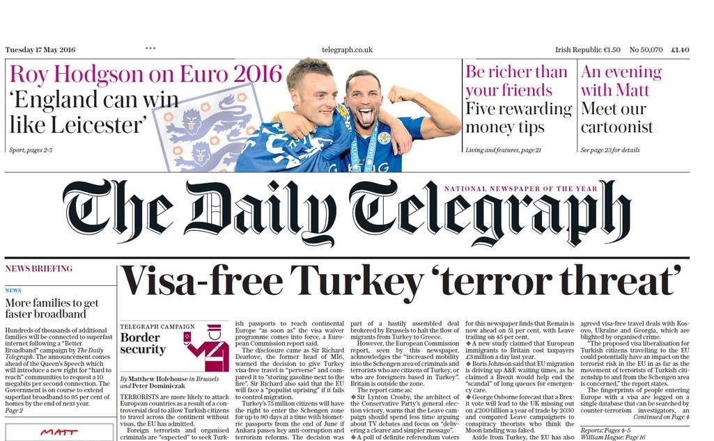 Jolie Telegraph front page